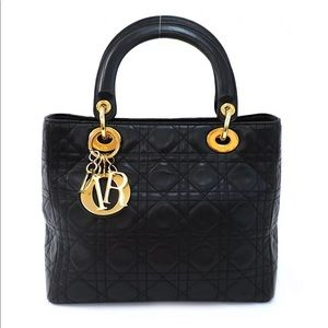 Christian Dior Black Leather Lady Kanaju Bag